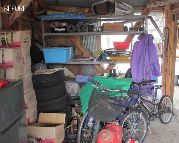 車庫を片付ける